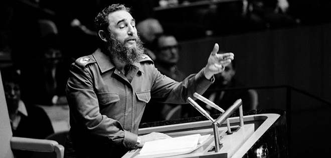 Fidel Castro Ruz, President of the Council of State and of the Council of Ministers of Cuba and current Chairman of the non-aligned States, paid a visit to United Nations Headquarters today and addressed the General Assembly.