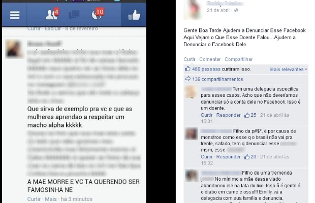 ameaças no face