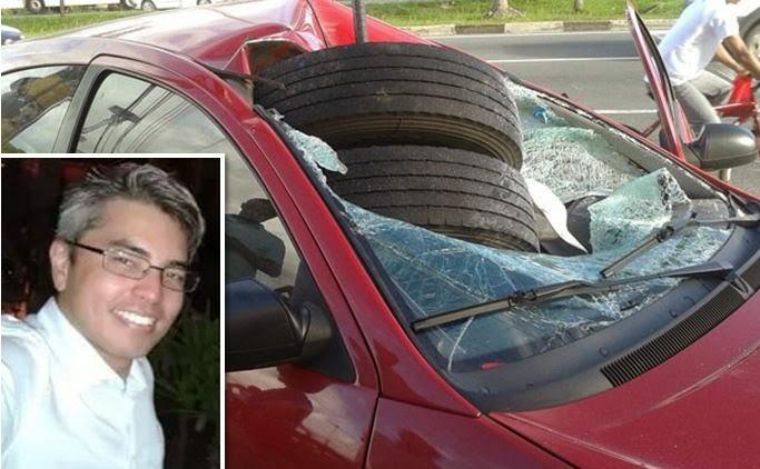 carro invadido por pneu